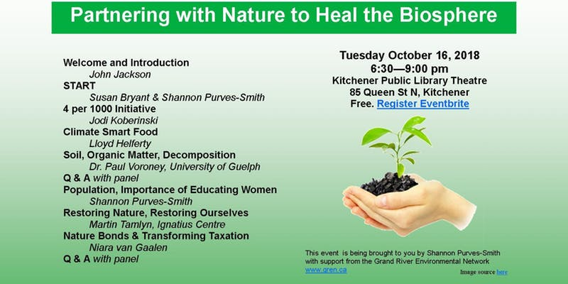 Heal the biosphere — Oct 16 at Kitchener Public Library